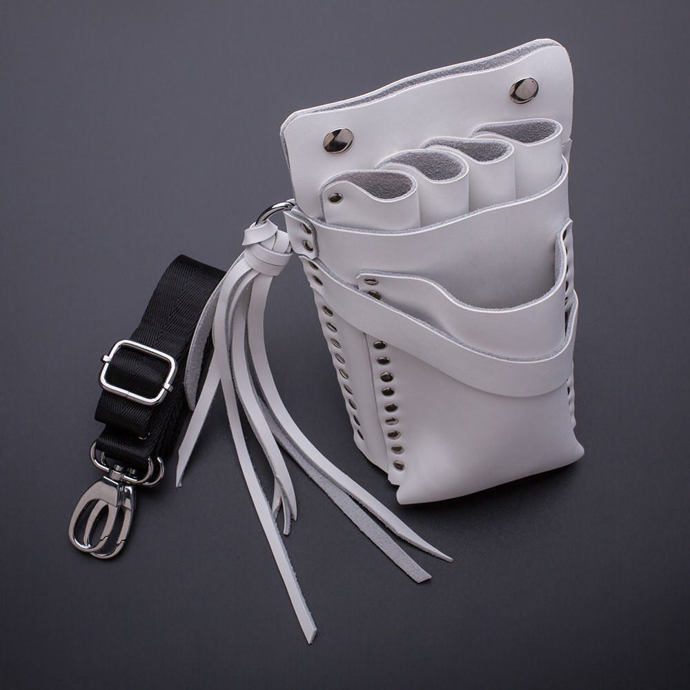 Beauty design white genuine leather scissors&tools holster with belt