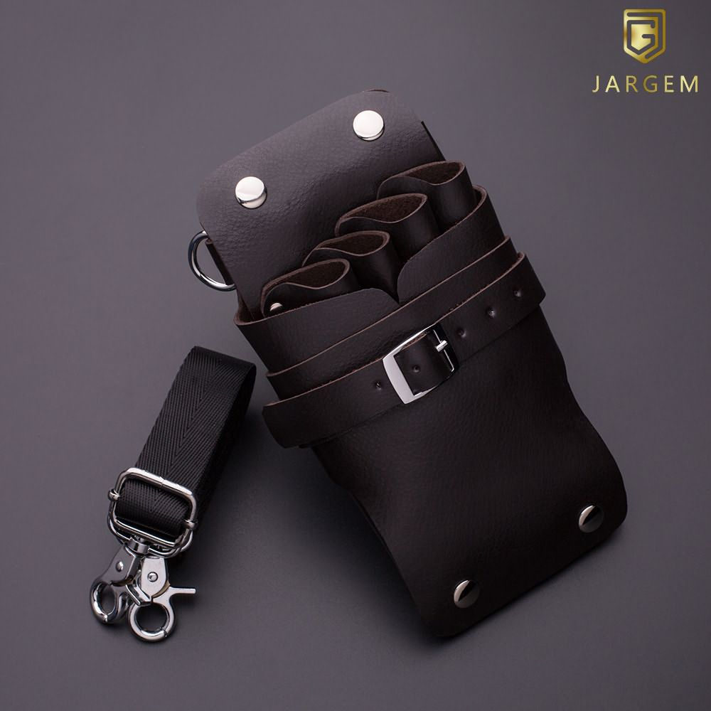 Genuine leather hair scissors pouch with waist belt