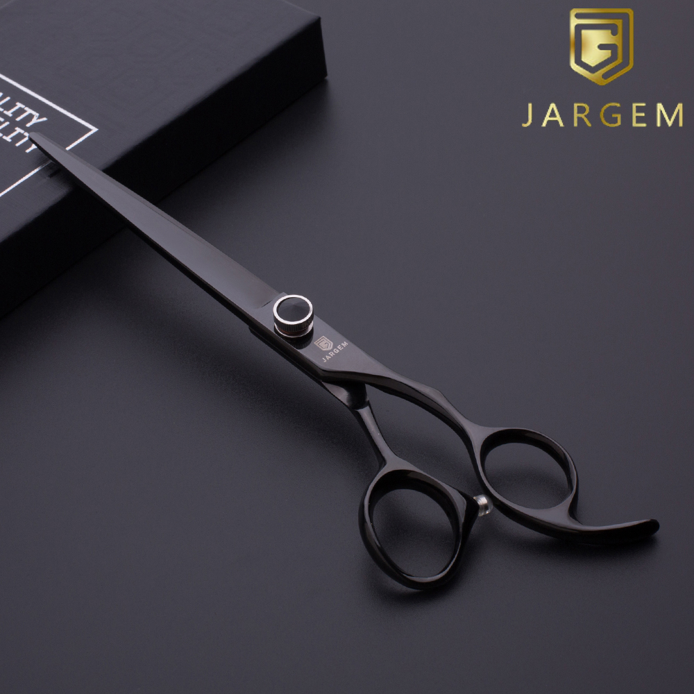 Shiny black titanium hair cutting shears