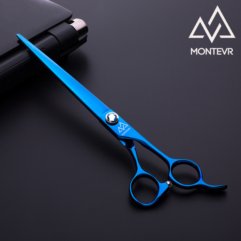 Shiny blue titanium pet grooming shear in 8.0 inch