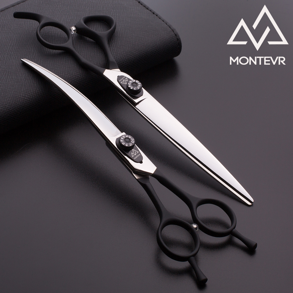 Black handle coated 7.5 inch curved pet grooming scissors set