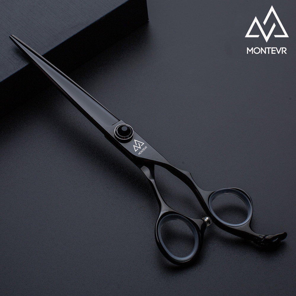 Black coated dog grooming shears